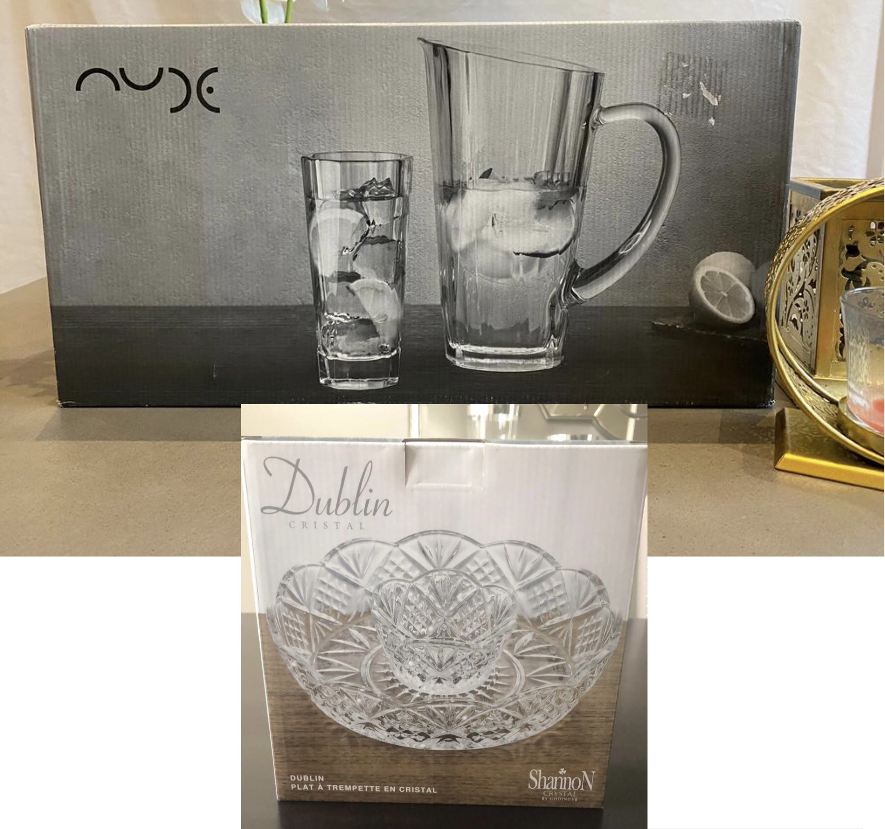 Auction For Glass Jug & Tumbler Set with Crystal Serving Bowl